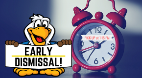 Eagle with Early Dismissal sign and clock