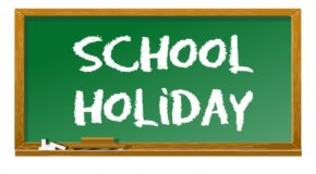 chalkboard that says school holiday in chalk