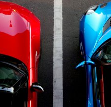 top down photo of two cars