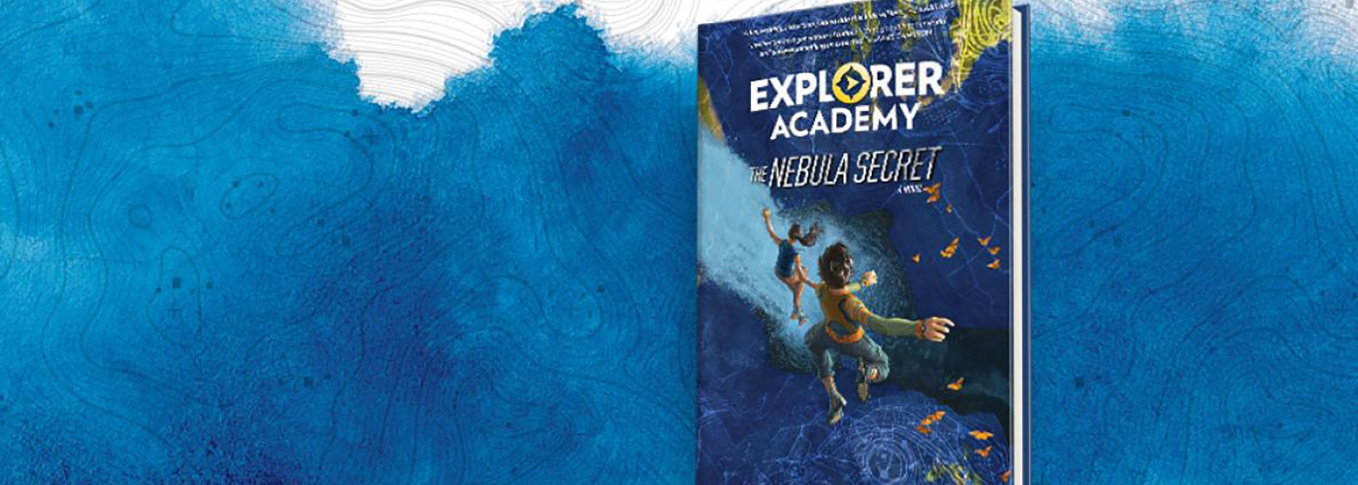 nebula secret book on blue background